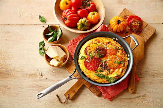 Heirloom Tomato, Ham and Fontina Frittata #GlutenFree