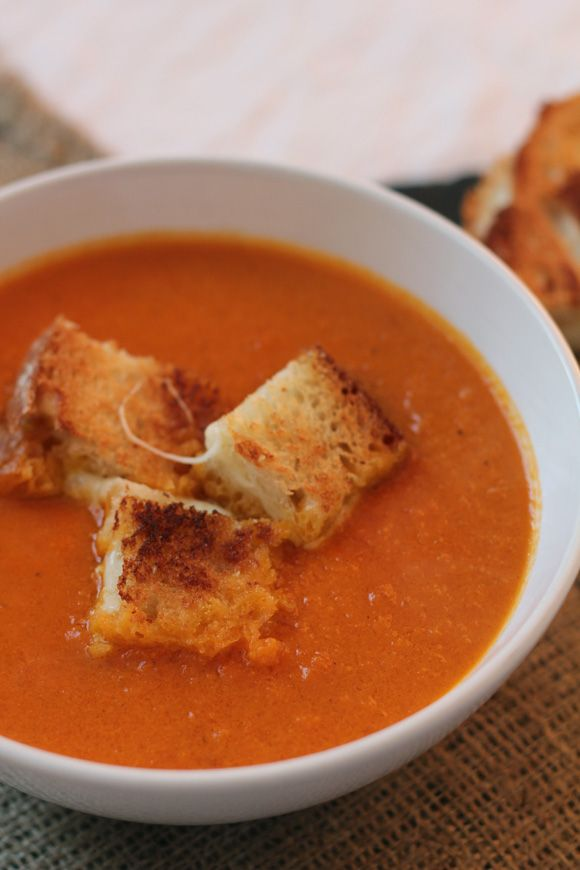 Tomato Soup with Grilled Cheese Croutons | nom nom nom | Pinterest
