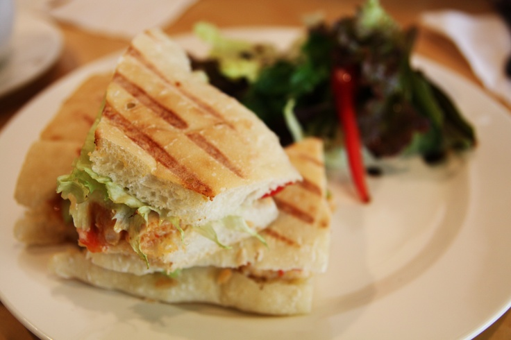 grilled chicken sandwich: chicken breast, sour cream, peanuts, sweet ...
