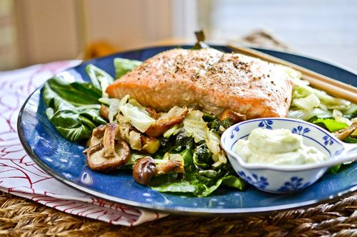 wasabi salmon with bok choy, green cabbage and shiitakes