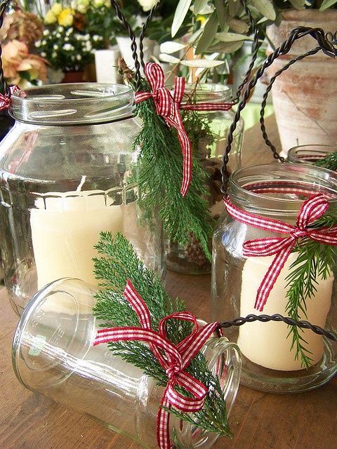 Pin by alicia monsen on christmas pinterest for Christmas table decorations using mason jars