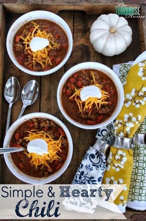 Simple & Hearty Chili | Soups/Stews/Sandwiches | Pinterest