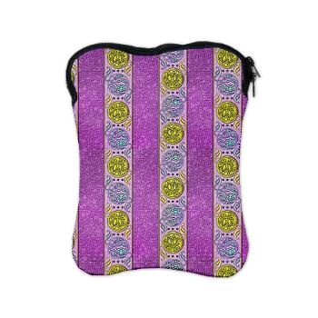 Decorative Purple Gold Striped iPad Sleeve    A decorative and elegant pattern, this electronic case design features wide purple stripes with circular patterns of gold, coin like decorations set in rows.  $42.95