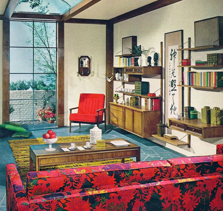 Pin by jill browning on 1 spaces vintage living rooms for Retro 60s bedroom ideas