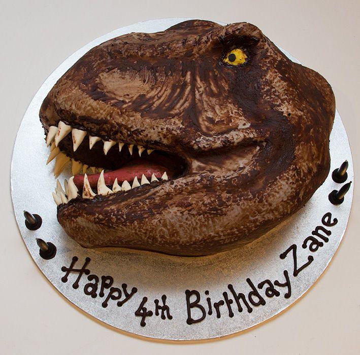 how to make a dinosaur head cake