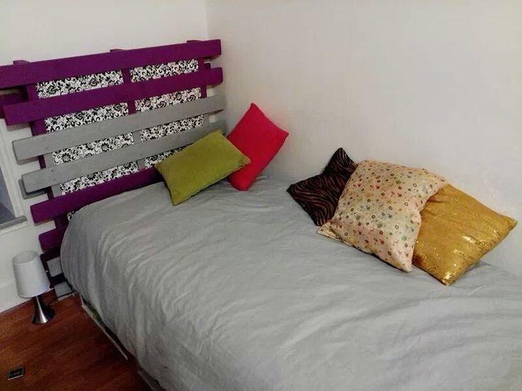 Pallet headboard t te de lit en palette - Fabriquer tete de lit palette ...