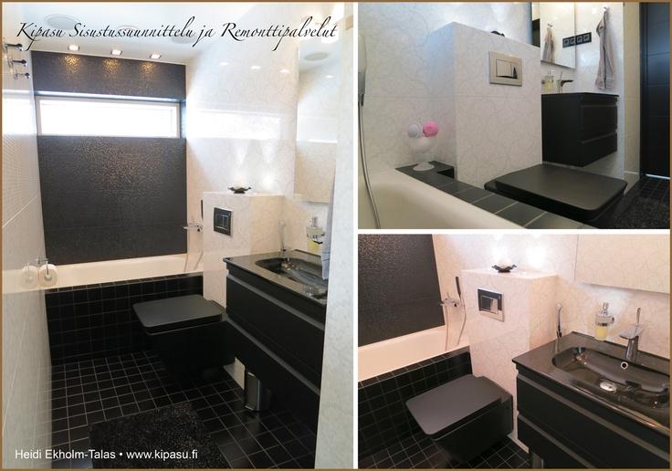 Moderni mustavalkoinen kylpyhuone Laatat ja kalusteet