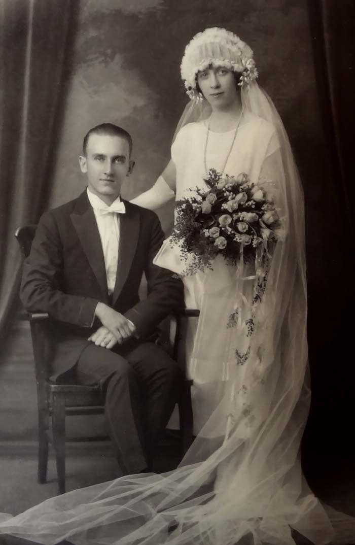 Gorgeous Wedding Cabinet Photo Bride Groom Vintage