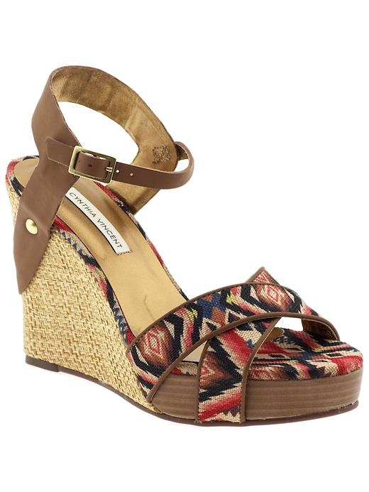Cynthia Vincent wedge with Aztec print
