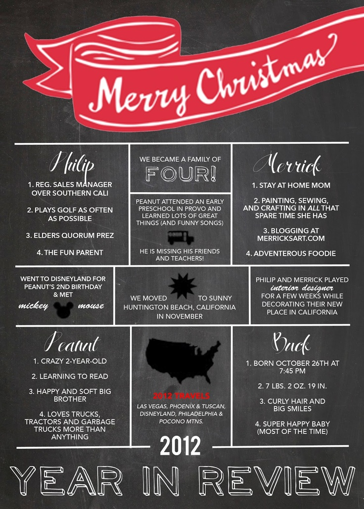 Christmas card/letter year in review  letters & words  Pinterest