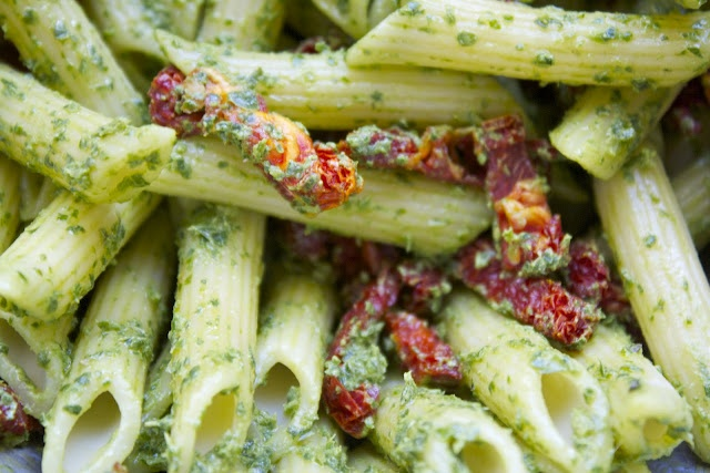 ... Goat Cheese, Basil & Spinach Pesto Pasta with Sun-dried Tomatoes