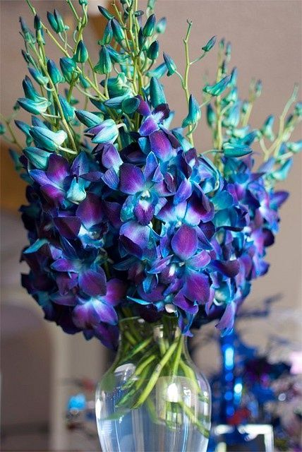 peacock colored flowers | peacock colored arrangements | Mantel inspirations