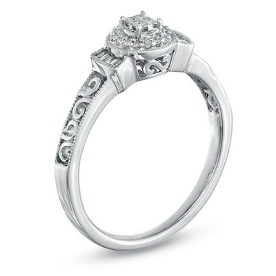 1 7 ct t w princess cut promise ring in