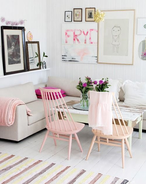 wooden painted chairs in living room