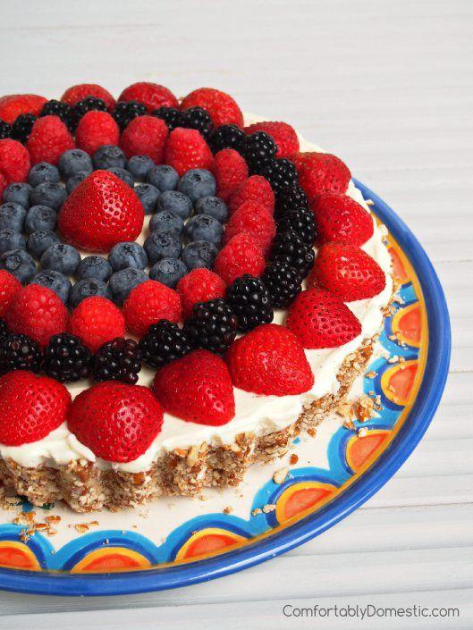 Lemon Mousse Tart with Pretzel Crust and Berries | ComfortablyDomestic ...