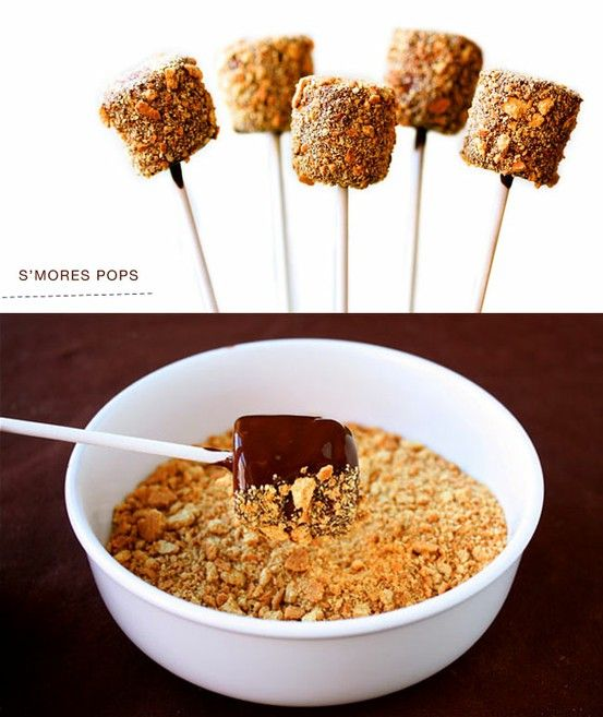 S'more Pops: marshmallow covered in melted chocolate and rolled in graham cracker crumbs. @ Wedding Day Pins