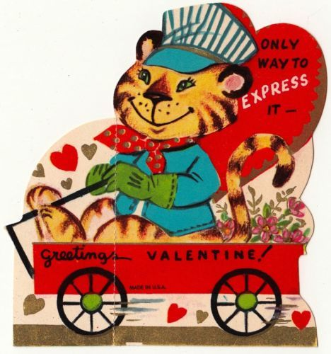 Vintage greeting card valentine animal tiger jungle cat for Classic jungle house for small animals