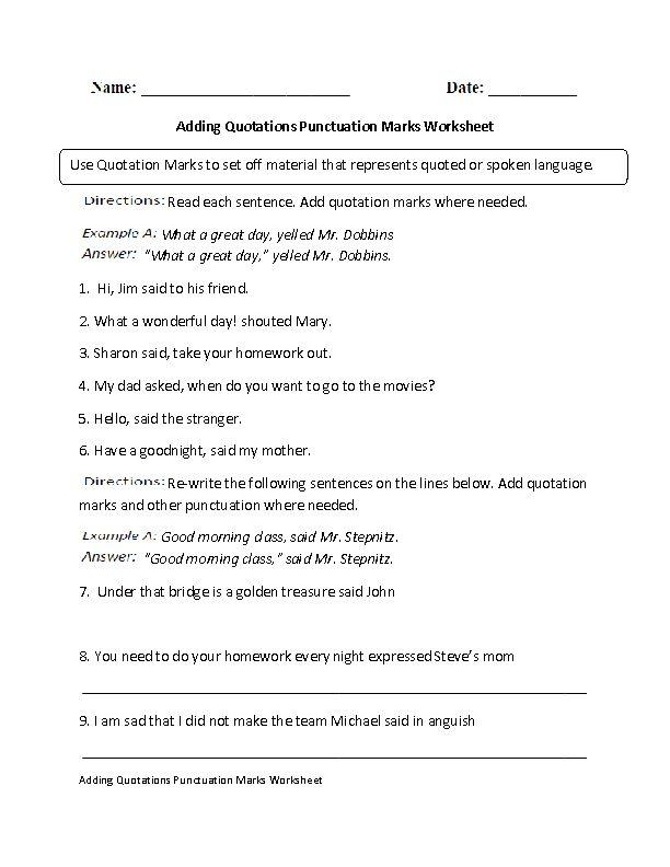 Speech punctuation worksheet year 6