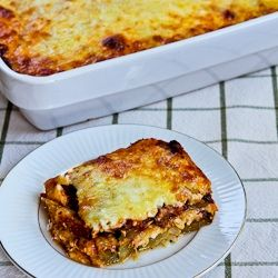 "I make this all the time in winter. It makes a week's worth of lunches.     Kalyn's Kitchen: Grilled Zucchini ""Lasagna"" Recipe with Italian Sausage, Tomato, and Basil Sauce"