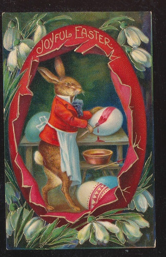 Cute Dressed Rabbit Decorates Eggs Vintage Antique Easter Postcard-aaa462
