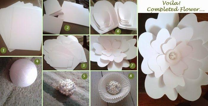 Крупные цветы из бумаги пошаговое