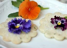 Lemon Basil Shortbread Cookies with Edible Flower Garnish | Recipe