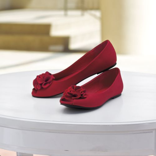 Monroe & Main Flower Puff Ballerina from Monroe and Main. Enter like a true princess, roses tossed right at your pretty peep-toes. Padded footbed; grooved outsole. Synthetic.