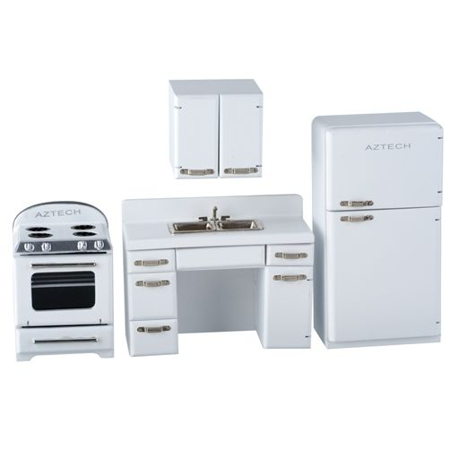 White 1950s 4 Pc Kitchen Appliance Set