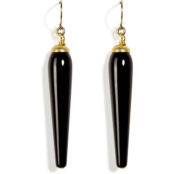 ARIS GELDIS Onyx Black Art Deco Pendant Earrings ❤ liked on Polyvore