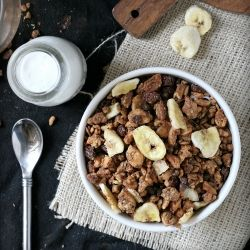 Grain free granola, sweetened with bananas and dates. Tastes just like ...