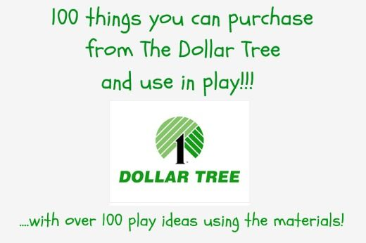 This list is awesome!! 100 Things You Can Purchase from The Dollar Tree and Use in Play.... with over 100 play ideas using these materials!!