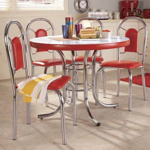 5 piece retro dining set vintage pinterest 2388 retro chrome round retro dining room set from coaster