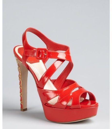@lyst #Tomato #Red #Patent #Leather #Cannage #Peep #Toe #Platforms a serious #must #have #shoe for #fall