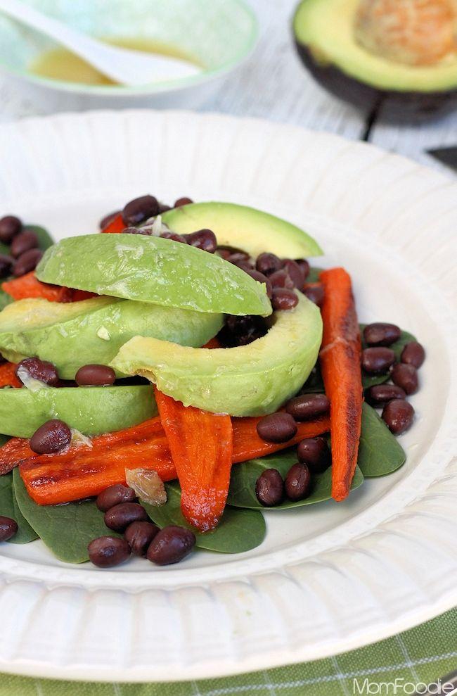 Smokey Roasted Carrot, Avocado & Black Bean Salad with Roasted Garlic ...
