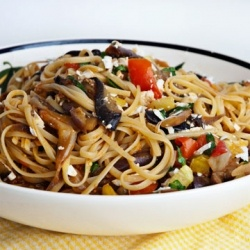 ... pasta with fresh tomatoes, eggplant, basil and tangy ricotta salata