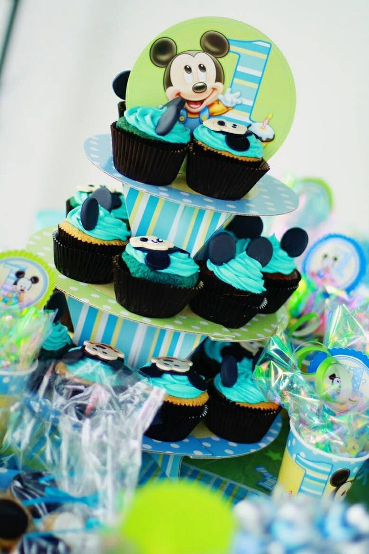 Baby Mickey Mouse 1st Birthday Cupcakes Baby mickey cupcakesMickey Mouse 1st Birthday Cupcakes
