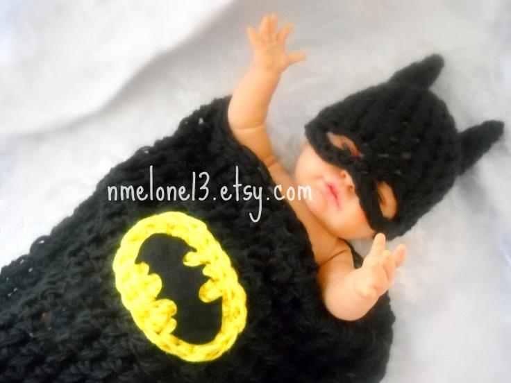 Free Crochet Pattern For Infant Batman Hat : BATMAN Baby handmade crochet Set Hat and cocoon 0 to ...