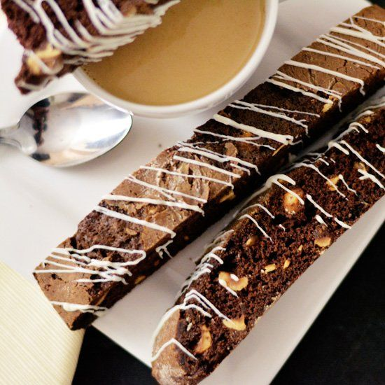 Hazelnuts and white chocolate combine in a chocolate biscotti, perfect ...