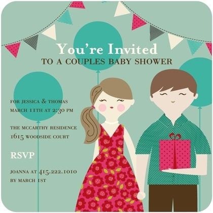 cute couple baby shower invitations in brown pincushion