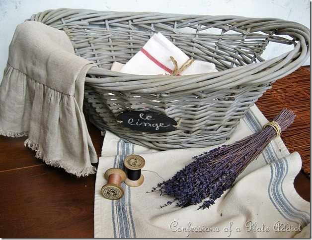 French laundry basket done by Debbie at Confessions of a Plate Addict. Even laundry looks better when done in French.