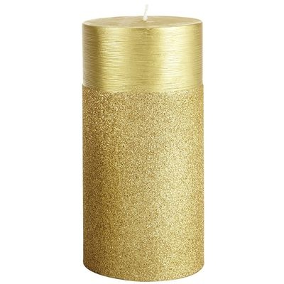 Spun glitter pillar candles gold products i love for Shimmer pillar candle