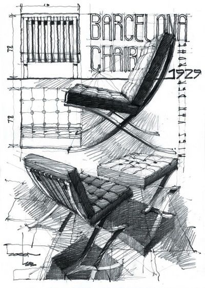 Barcelona chair design sketch croquis mobiliario pinterest for Stuhl design dwg