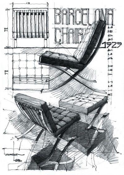 Barcelona chair design sketch croquis mobiliario pinterest for Stuhl design dwg