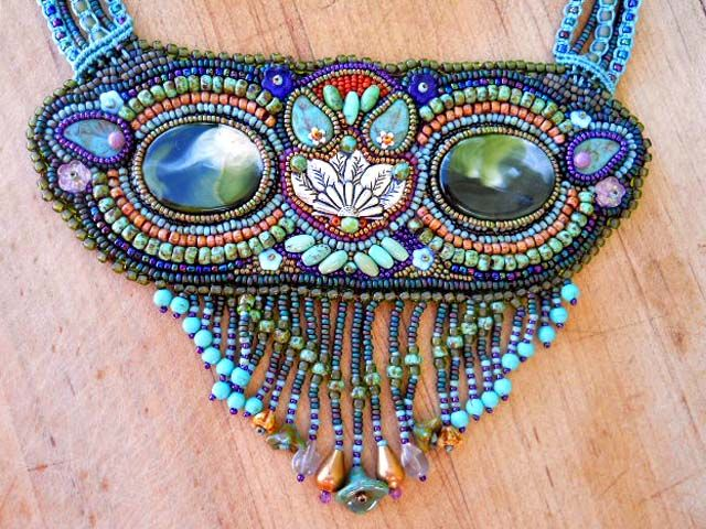 Owl Seed bead Necklace Center by The Beading Yogini