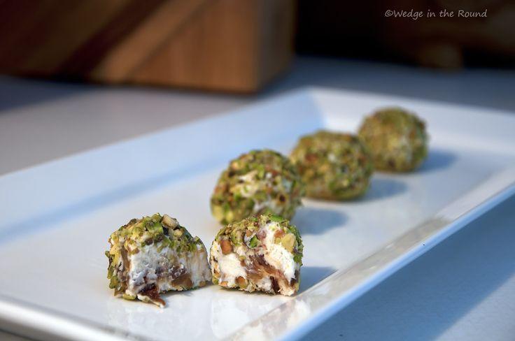 Goat cheese, honey, medjool date & pistachio truffles No recipe, just ...