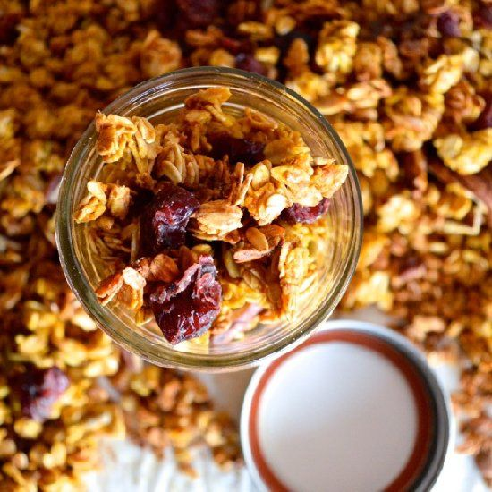 ... granola recipe, with loads of granola clusters, nuts and fruit
