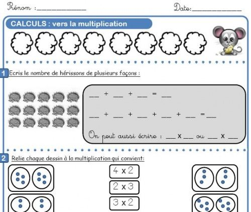 Fichier calcul ce1 maths pinterest for Table multiplication ce1