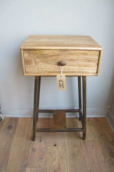 Wood Metal Bedside Table