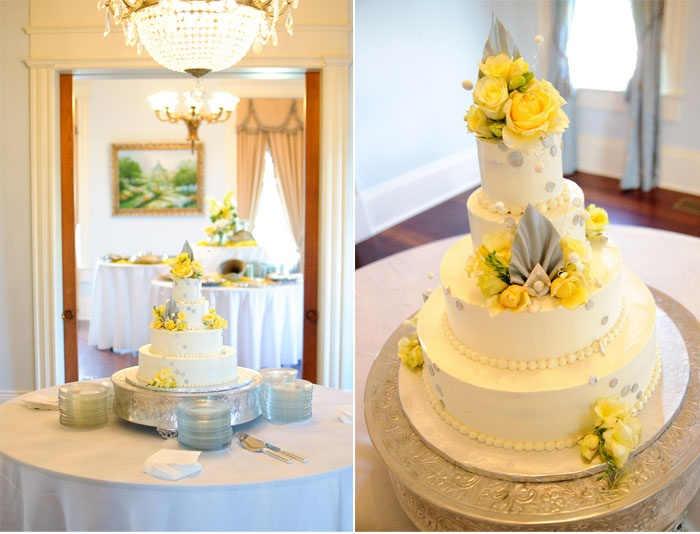 yellow white and gray wedding cake cakes pinterest