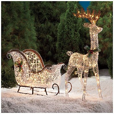 Lighted reindeer sleigh holiday decorating pinterest for Outdoor deer christmas decorations